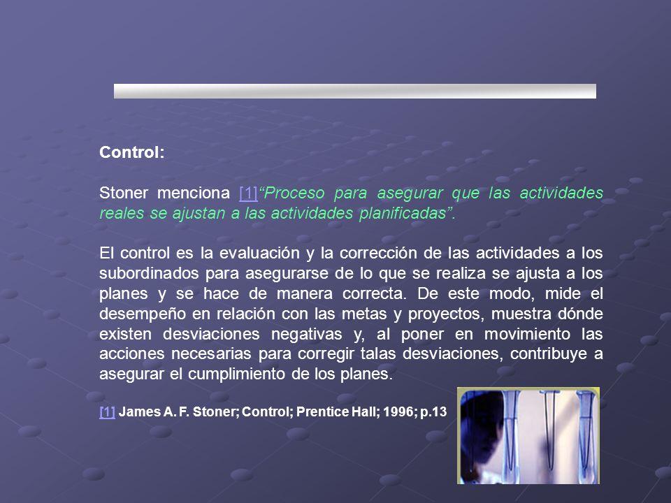 Control:Stoner menciona [1] Proceso para asegurar que las actividades reales se ajustan a las actividades planificadas .